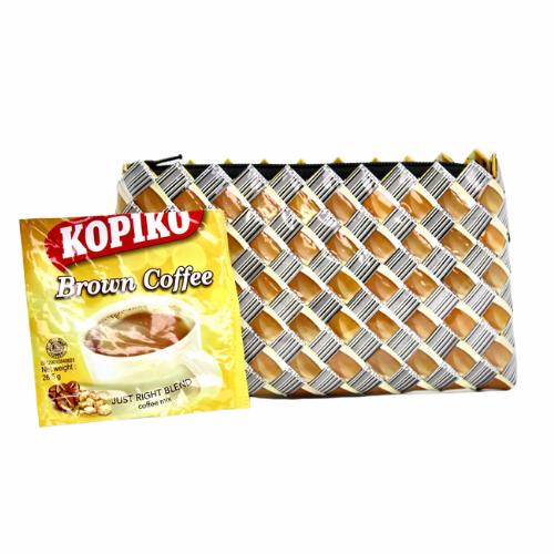 Medium wallet - Brown & barcode
