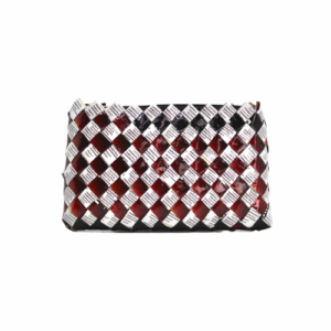 Medium wallet - Dark red & barcode